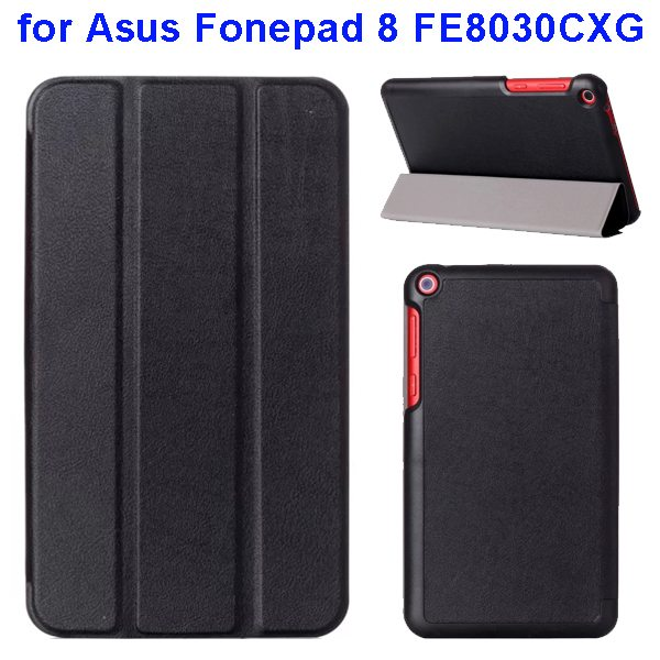 Karst Texture Three Folio Flip Leather Cover for Asus Fonepad 8 FE8030CXG with Stand(Black)