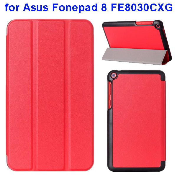 Karst Texture Three Folio Flip Leather Cover for Asus Fonepad 8 FE8030CXG with Stand(Red)