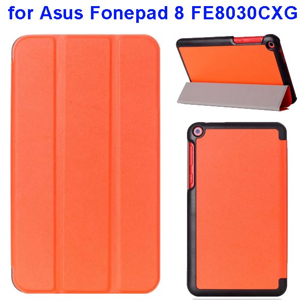 Karst Texture Three Folio Flip Leather Cover for Asus Fonepad 8 FE8030CXG with Stand(Orange)