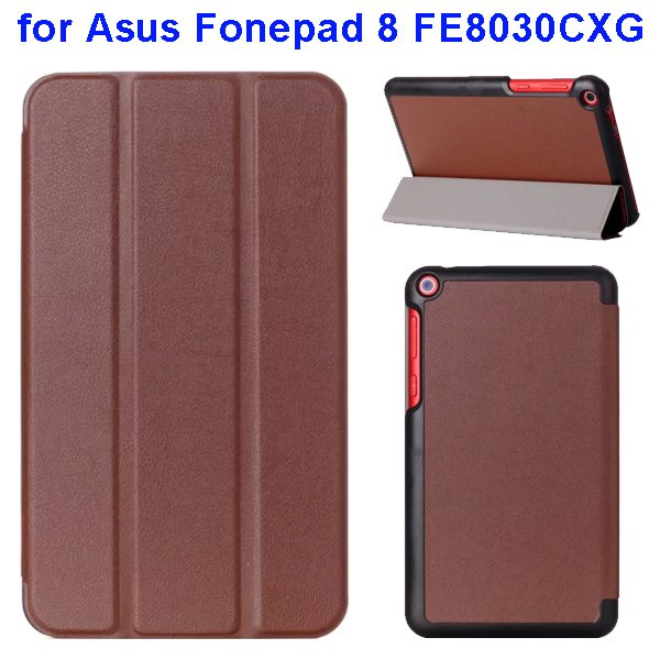 Karst Texture Three Folio Flip Leather Cover for Asus Fonepad 8 FE8030CXG with Stand(Brown)