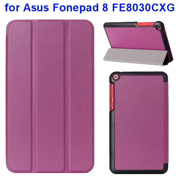 Karst Texture Three Folio Flip Leather Cover for Asus Fonepad 8 FE8030CXG with Stand(Purple)