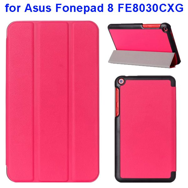 Karst Texture Three Folio Flip Leather Cover for Asus Fonepad 8 FE8030CXG with Stand(Rose)