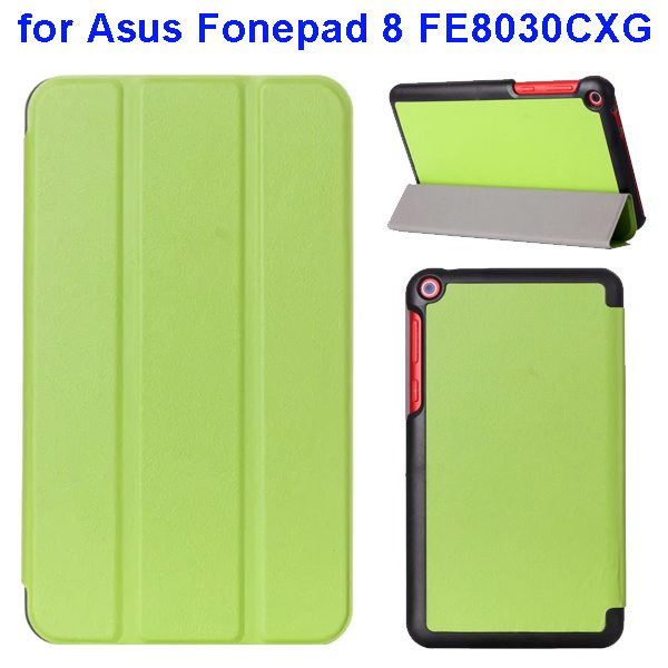 Karst Texture Three Folio Flip Leather Cover for Asus Fonepad 8 FE8030CXG with Stand(Green)