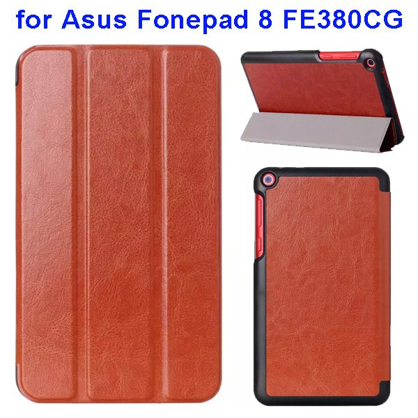 Crazy Horse Texture Three Folio Flip Leather Cover for Asus Fonepad 8 FE380CG with Stand(Brown)