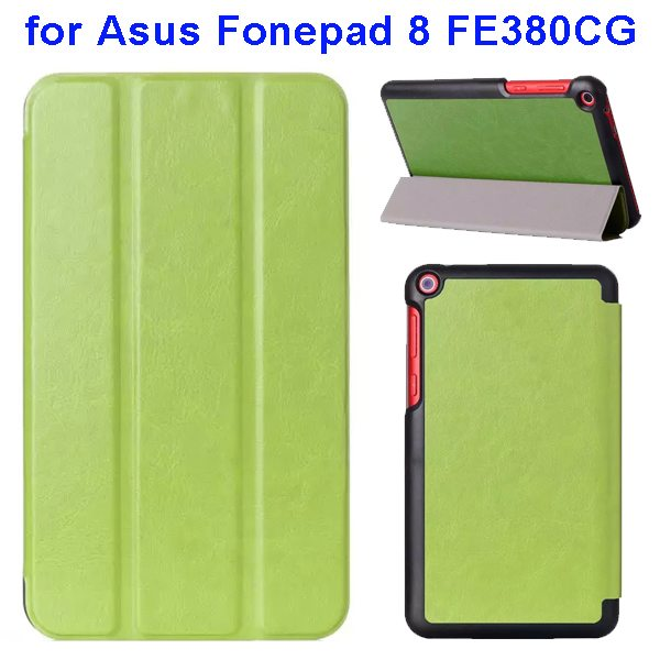 Crazy Horse Texture Three Folio Flip Leather Cover for Asus Fonepad 8 FE380CG with Stand(Green)