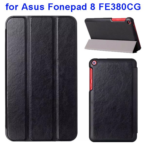 Crazy Horse Texture Three Folio Flip Leather Cover for Asus Fonepad 8 FE380CG with Stand(Black)