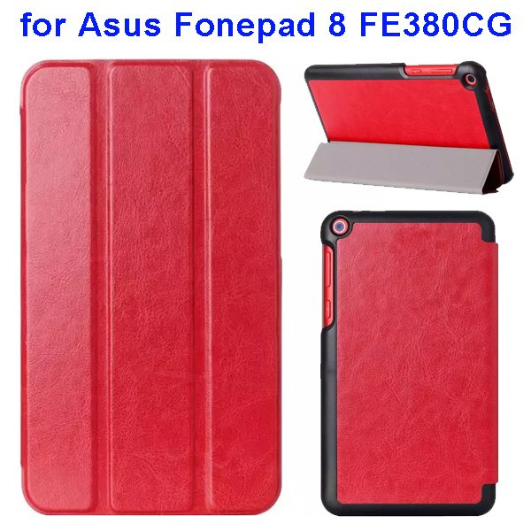 Crazy Horse Texture Three Folio Flip Leather Cover for Asus Fonepad 8 FE380CG with Stand(Red)