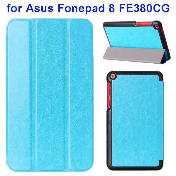 Crazy Horse Texture Three Folio Flip Leather Cover for Asus Fonepad 8 FE380CG with Stand(Baby Blue)