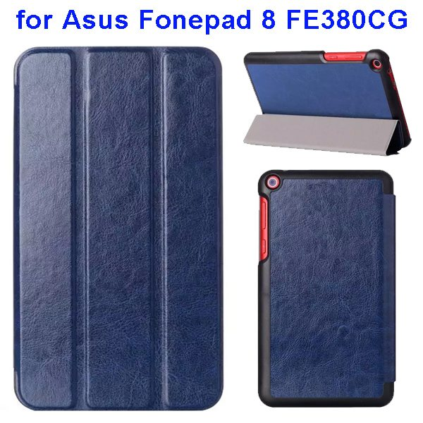 Crazy Horse Texture Three Folio Flip Leather Cover for Asus Fonepad 8 FE380CG with Stand(Dark Blue)