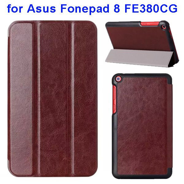Crazy Horse Texture Three Folio Flip Leather Cover for Asus Fonepad 8 FE380CG with Stand(Coffee)
