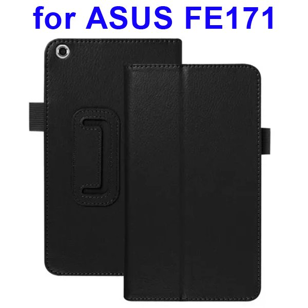 Multi-Colors Litchi Texture Flip Leather Case for ASUS FE171 (Black)