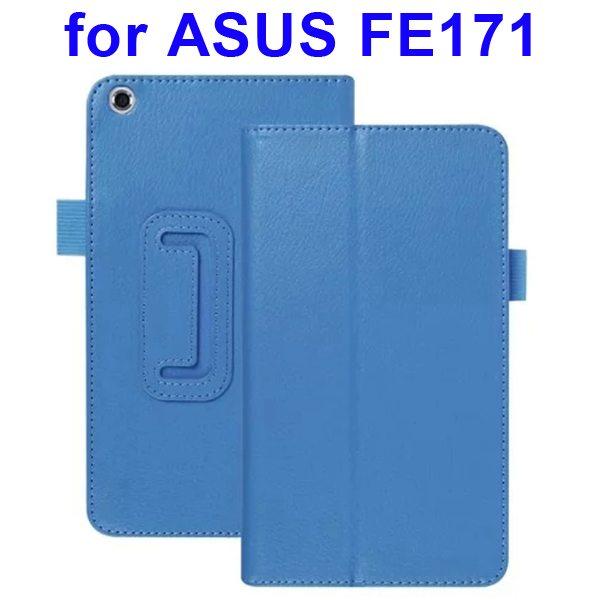 Multi-Colors Litchi Texture Flip Leather Case for ASUS FE171 (Blue)
