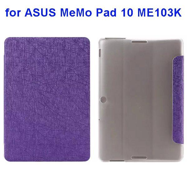 Silk Texture 3-Folding Pattern Flip Leather Case for ASUS MeMo Pad 10 ME103K (Purple)