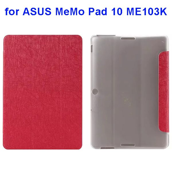 Silk Texture 3-Folding Pattern Flip Leather Case for ASUS MeMo Pad 10 ME103K (Red)