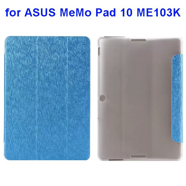 Silk Texture 3-Folding Pattern Flip Leather Case for ASUS MeMo Pad 10 ME103K (Baby Blue)