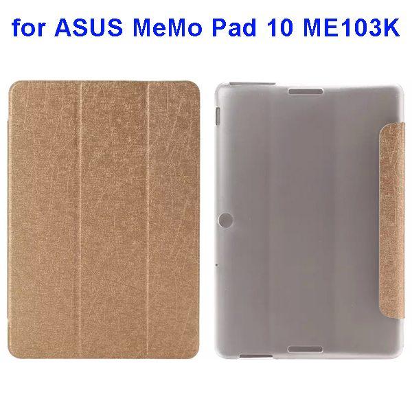 Silk Texture 3-Folding Pattern Flip Leather Case for ASUS MeMo Pad 10 ME103K (Golden)