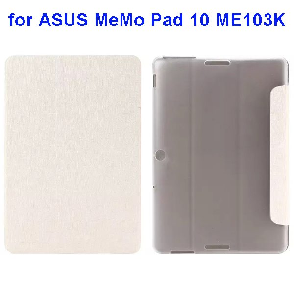 Silk Texture 3-Folding Pattern Flip Leather Case for ASUS MeMo Pad 10 ME103K (White)
