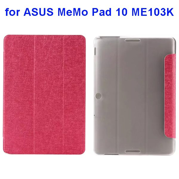Silk Texture 3-Folding Pattern Flip Leather Case for ASUS MeMo Pad 10 ME103K (Pink)