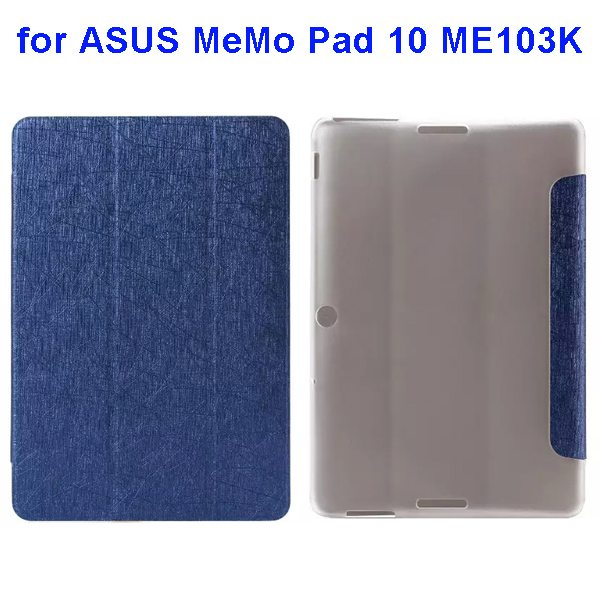 Silk Texture 3-Folding Pattern Flip Leather Case for ASUS MeMo Pad 10 ME103K (Blue)
