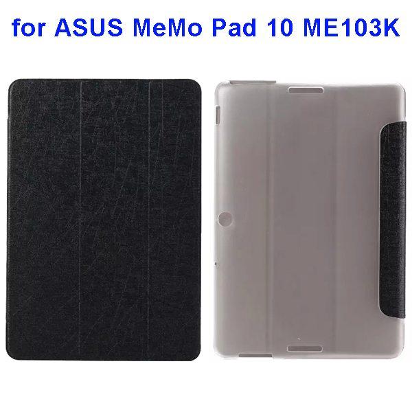 Silk Texture 3-Folding Pattern Flip Leather Case for ASUS MeMo Pad 10 ME103K (Black)