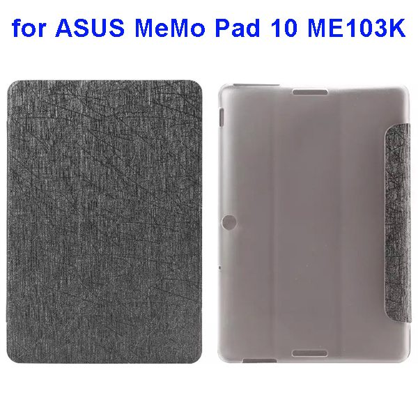 Silk Texture 3-Folding Pattern Flip Leather Case for ASUS MeMo Pad 10 ME103K (Grey)