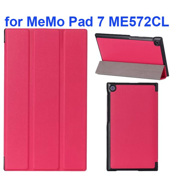 Karst Texture 3-Flip Leather Case for Asus MeMo Pad 7 ME572CL (Rose)