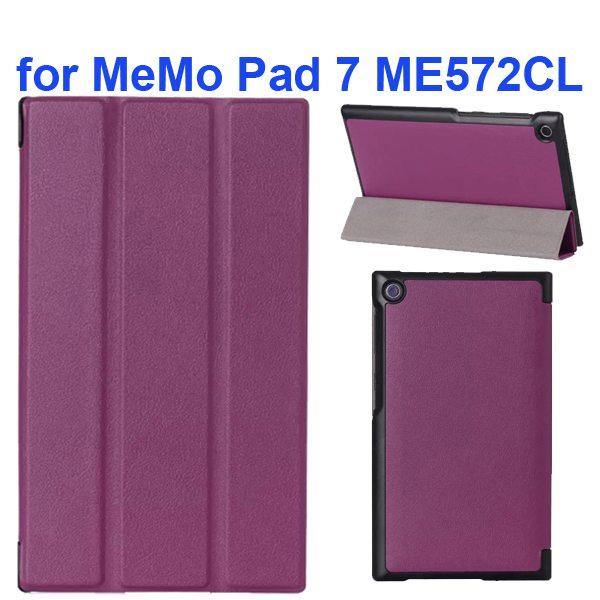 Karst Texture 3-Flip Leather Case for Asus MeMo Pad 7 ME572CL (Purple)