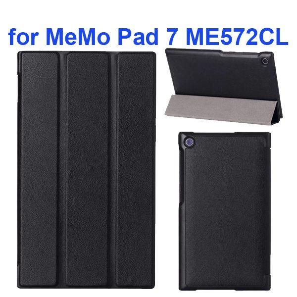Karst Texture 3-Flip Leather Case for Asus MeMo Pad 7 ME572CL (Black)