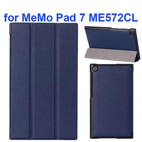 Karst Texture 3-Flip Leather Case for Asus MeMo Pad 7 ME572CL (Dark Blue)