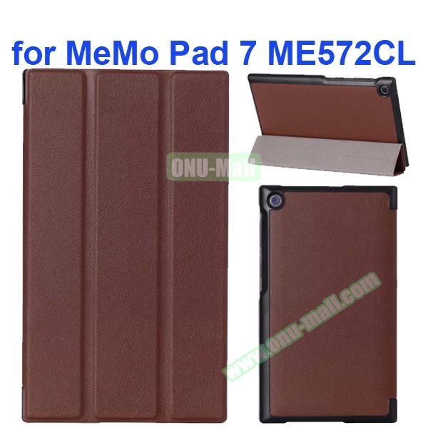 Karst Texture 3-Flip Leather Case for Asus MeMo Pad 7 ME572CL (Brown)