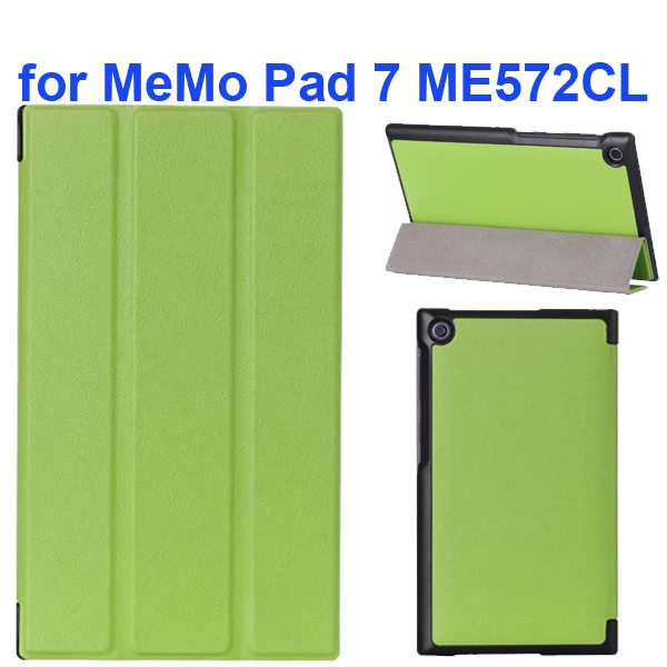 Karst Texture 3-Flip Leather Case for Asus MeMo Pad 7 ME572CL (Green)