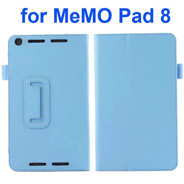 Two Fold Pattern Litchi Texture Flip Leather Case for Asus MeMo Pad 8 ME581C (Blue)