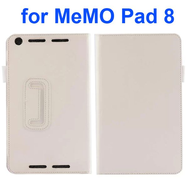 Two Fold Pattern Litchi Texture Flip Leather Case for Asus MeMo Pad 8 ME581C (White)