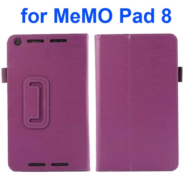 Two Fold Pattern Litchi Texture Flip Leather Case for Asus MeMo Pad 8 ME581C (Purple)