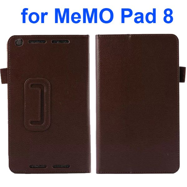 Two Fold Pattern Litchi Texture Flip Leather Case for Asus MeMo Pad 8 ME581C (Brown)