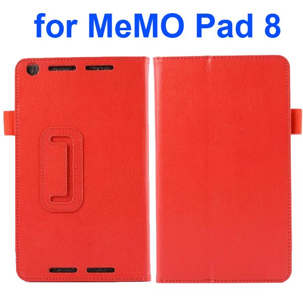 Two Fold Pattern Litchi Texture Flip Leather Case for Asus MeMo Pad 8 ME581C (Red)