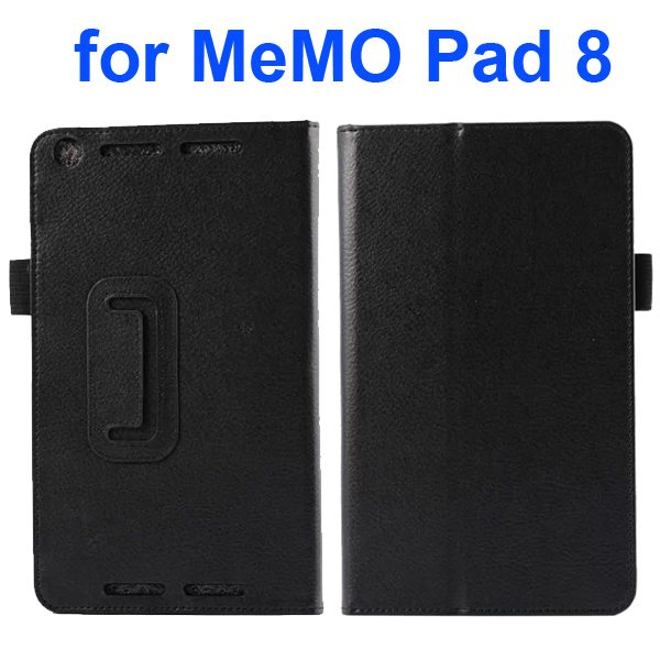 Two Fold Pattern Litchi Texture Flip Leather Case for Asus MeMo Pad 8 ME581C (Black)