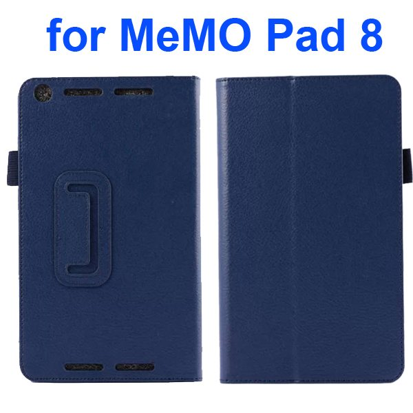 Two Fold Pattern Litchi Texture Flip Leather Case for Asus MeMo Pad 8 ME581C (Dark Blue)