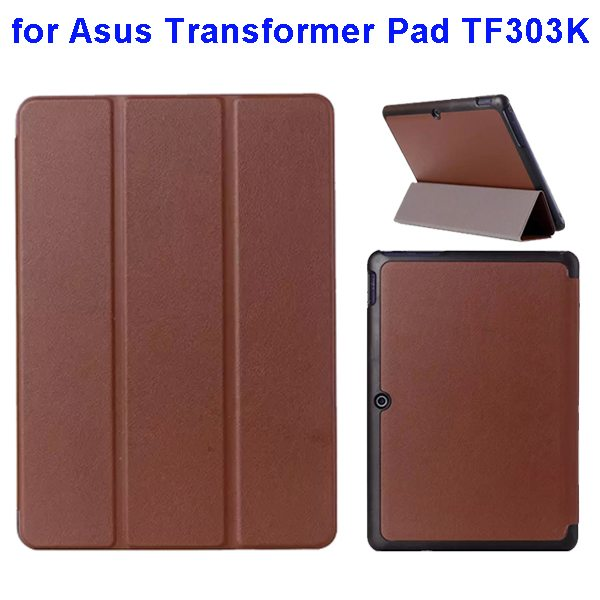 Ultrathin Three Folio Flip Leather Case for Asus Transformer Pad TF303K (Brown)