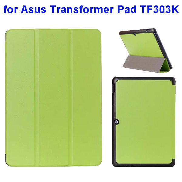 Ultrathin Three Folio Flip Leather Case for Asus Transformer Pad TF303K (Green)