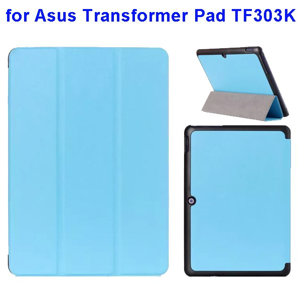 Ultrathin Three Folio Flip Leather Case for Asus Transformer Pad TF303K (Light Blue)