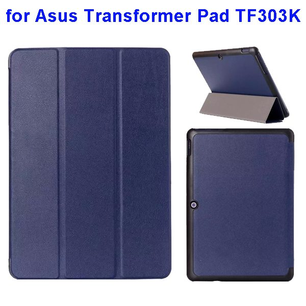 Ultrathin Three Folio Flip Leather Case for Asus Transformer Pad TF303K (Dark Blue)
