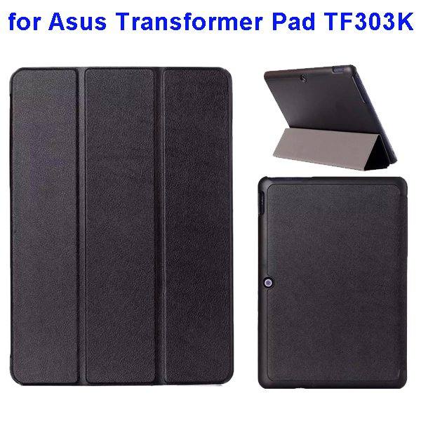 Ultrathin Three Folio Flip Leather Case for Asus Transformer Pad TF303K (Black)