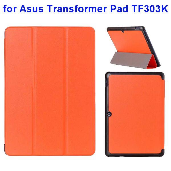 Ultrathin Three Folio Flip Leather Case for Asus Transformer Pad TF303K (Orange)
