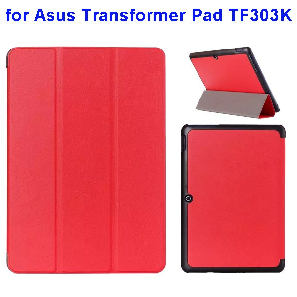 Ultrathin Three Folio Flip Leather Case for Asus Transformer Pad TF303K (Red)