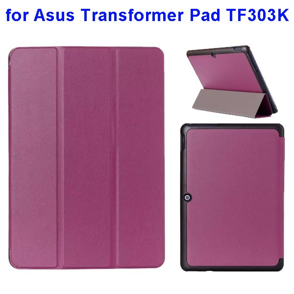Ultrathin Three Folio Flip Leather Case for Asus Transformer Pad TF303K (Purple)