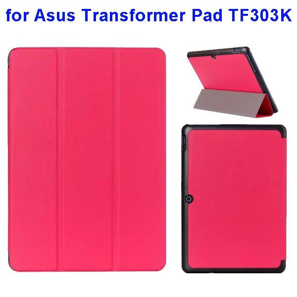 Ultrathin Three Folio Flip Leather Case for Asus Transformer Pad TF303K (Rose)
