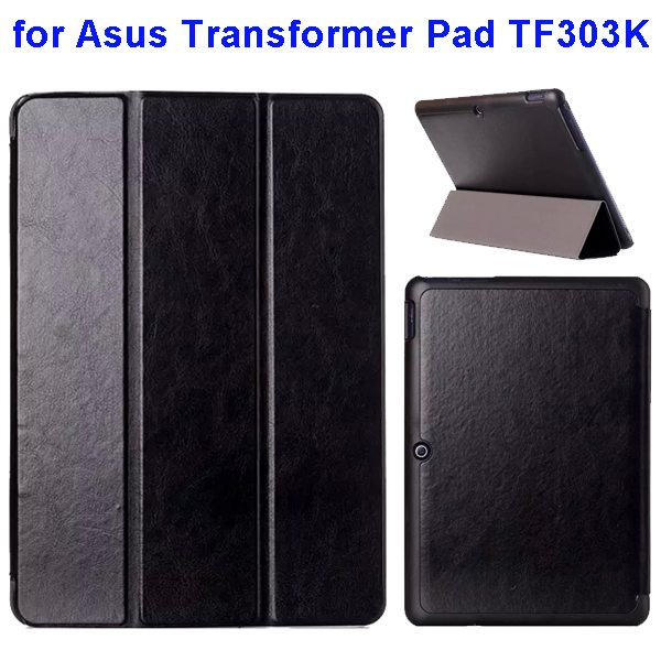 Crazy Horse Texture Three Folio Flip Cover for Asus Transformer Pad TF303K (Black)