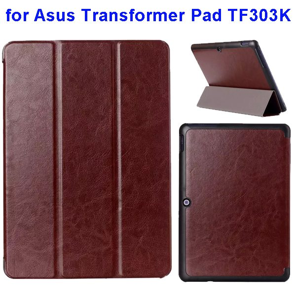Crazy Horse Texture Three Folio Flip Cover for Asus Transformer Pad TF303K (Brown)