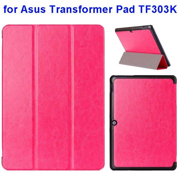 Crazy Horse Texture Three Folio Flip Cover for Asus Transformer Pad TF303K (Rose)